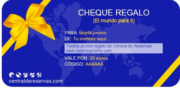 Tarjeta Promo regalo Central de reservas